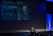 Stephen Hawking talks black holes and the quantum world at packed lecture