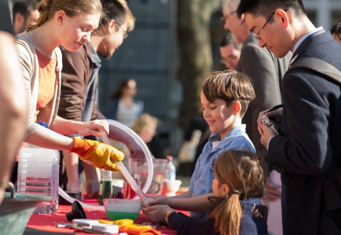 Visitors get hands-on with the science buskers