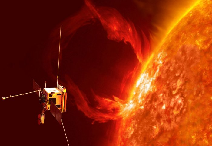 Small square spacecraft close to the Sun