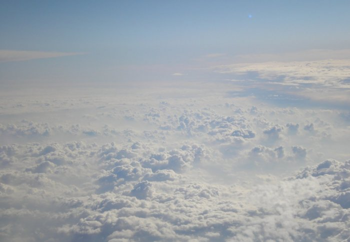 Fluffy clouds seen from above