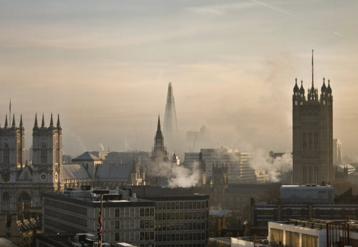 Skyline of London with air pollution