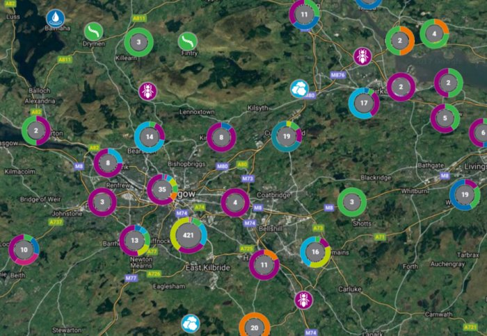 Numbers on a map of Glasgow