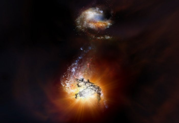 Illustration of two bright galaxies
