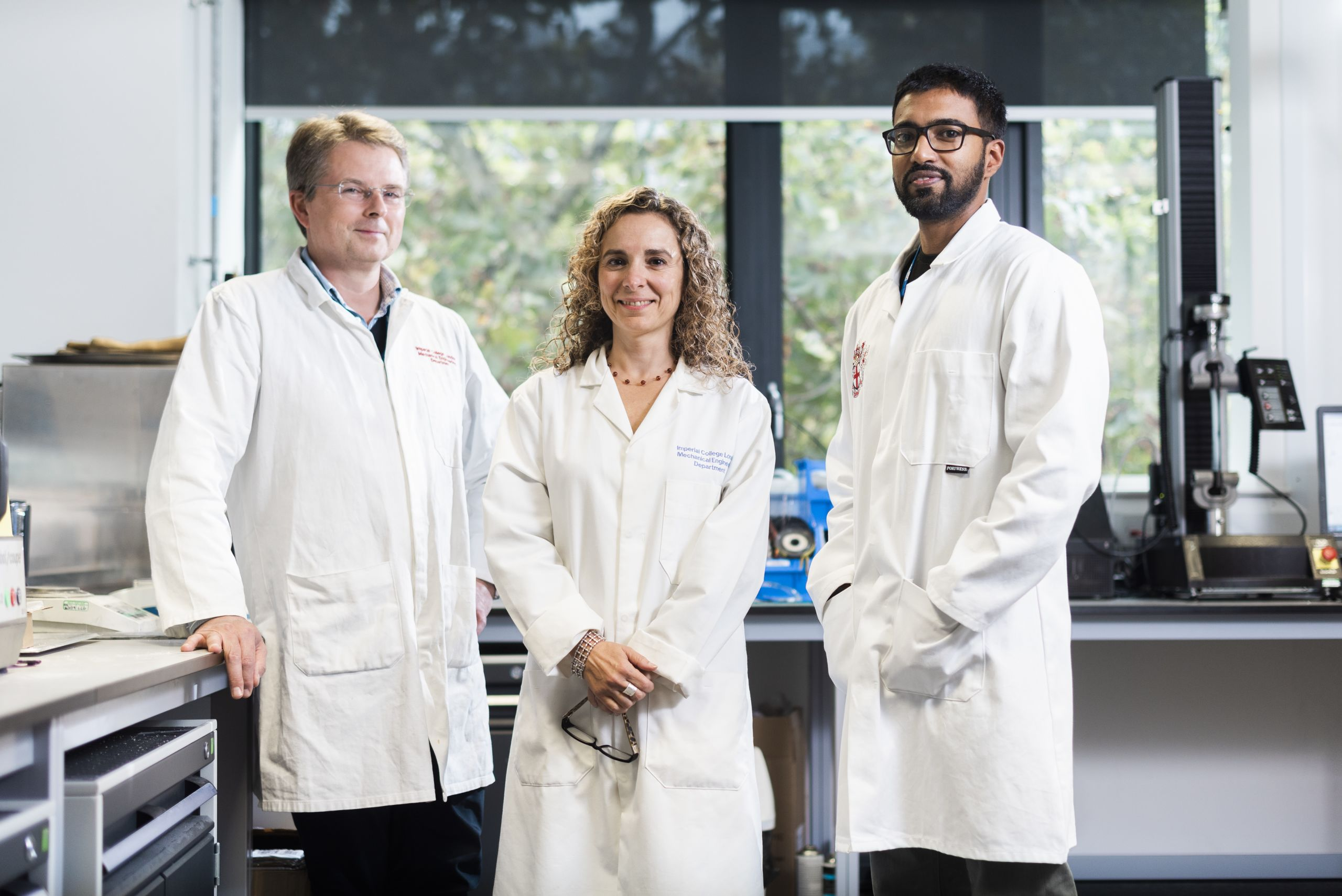 Dr Bamber Blackman, Professor Maria Charalambides and Dr Manu Mulakkal in the Department of Mechanical Engineering, who are working on innovative multilayer packaging.